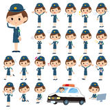 Set of various poses of policeWoman. Royalty Free Stock Photo