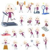 Purple shirt old women White_Sports & exercise. Set of various poses of purple shirt old women White_Sports & exercise Stock Image