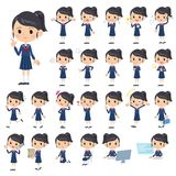 Set of various poses of Sailor suit schoolgirl Stock Image