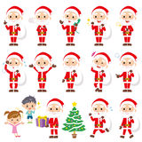 Set of various poses of Santa claus Stock Photo
