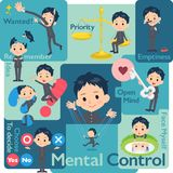 School boy gakuran_Mental & volition. Set of various poses of school boy gakuran_Mental & volition royalty free illustration
