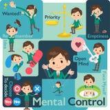School boy Green Blazer_Mental & volition. Set of various poses of school boy Green Blazer_Mental & volition stock illustration