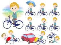 School boy White_city bicycle. Set of various poses of school boy White_city bicycle stock illustration