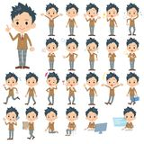 Set of various poses of Schoolboy.  Royalty Free Stock Image