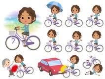 Schoolgirl Black_city bicycle Stock Image