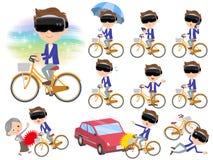 Virtual reality goggle men_city bicycle. Set of various poses of virtual reality goggle men_city bicycle Stock Photo
