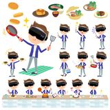 Virtual reality goggle men_cooking. Set of various poses of virtual reality goggle men_cooking Stock Images