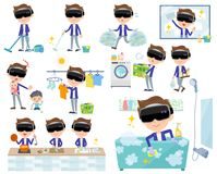 Virtual reality goggle men_housekeeping. Set of various poses of virtual reality goggle men_housekeeping Royalty Free Stock Photos