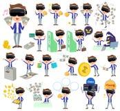 Virtual reality goggle men_money. Set of various poses of virtual reality goggle men_money Royalty Free Stock Photos