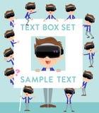 Virtual reality goggle men_text box. Set of various poses of virtual reality goggle men_text box Royalty Free Stock Images