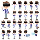 Virtual reality goggle men_1. Set of various poses of virtual reality goggle men_1 Stock Photography