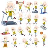 Yellow Ocher knit old man White_Sports & exercise. Set of various poses of Yellow Ocher knit old man White_Sports & exercise Stock Photography
