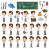 Set of various poses of Youngmen cook. 