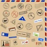 Set of various post seals. Stock Photos