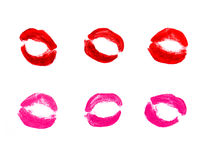 Set of various prints of lipstick Royalty Free Stock Photo