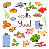 Set various products daily nutrition. Food doodle set various products, meat, vegetables, drinking water, fruit and much more. Poster good food with the products Stock Photo