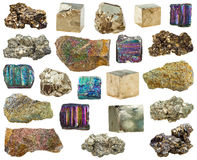 Set of various pyrite mineral crystals, stones Stock Images