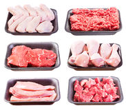 Set of various raw meat in a plastic tray Stock Image