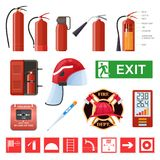 Set of various red metal fire extinguishers. Signs, thermometers, helmet. Set of various red metal fire extinguishers, various forms and nozzles and hoses Stock Photos