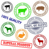 Set various rubber stamp with silhouettes of anima. Ls, natural product Royalty Free Stock Image