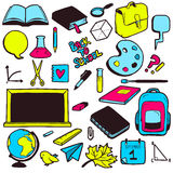 Set of various school elements, colorful hand drawn collection Stock Images