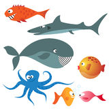 Set of various sea animals. (fishes, octopus, whale, shark Royalty Free Stock Image