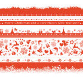 Set of various seamless Christmas borders Stock Images
