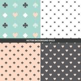 Set of various seamless patterns stock image