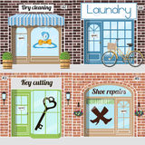 Set of various servicies. Key cutting, Shoe repairs, dry cleaning, Laundry. Vector illustration Stock Images
