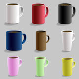 Set of various shaped mug cup for hot drink caffe. Isolated detailed realistic 3d  with shadow. Black red pink yellow blue w. Hite color art Stock Photography