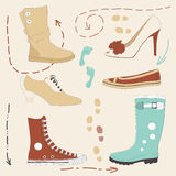 Set of Various Shoes Stock Photography