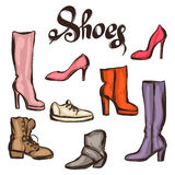 Set of various shoes. Hand drawn illustration female footwear, boots and stiletto heels Royalty Free Stock Image