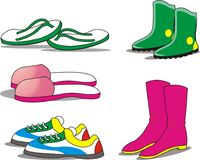 Set of various shoes and sandals for the feet vector illustration
