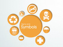 Set of various signs and symbols. Royalty Free Stock Image