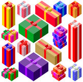 Set of various sizes colorful gift boxes Stock Photography