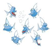 Set of Cartoon Illustration. A Cute Fish for you Design Royalty Free Stock Photos