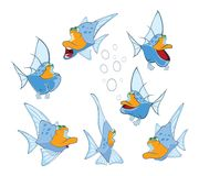 Set of Cartoon Illustration. A Cute Fish for you Design Stock Photography