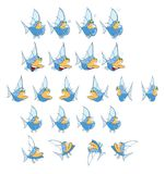 Cartoon Characters Fish for you Design and Computer Game. Storyboard Stock Photo