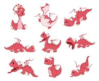 Set of Cartoon Illustration Dragons for you Design. Set of various small red dragons with small wings and a horn Royalty Free Stock Photos