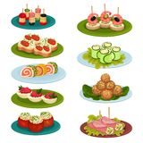 Set of various snacks for banquet. Appetizing food. Culinary theme. Flat vector for recipe book or restaurant menu. Set of 9 various snacks for banquet royalty free illustration