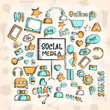 Set of various social media icons. Stock Photo