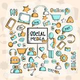 Set of various social media icons. Stock Photo