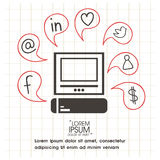 Set of various social media icons. Royalty Free Stock Photography