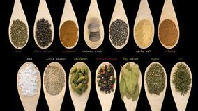 Set of various spices and food ingredients with labels isolated on black background. High resolution.  royalty free stock photos