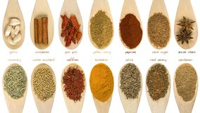 Set of various spices and food ingredients with labels isolated on white background. High resolution.  royalty free stock photo