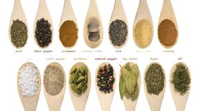 Set of various spices and food ingredients with labels isolated on white background. High resolution.  stock image