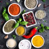 Set of Various spices and herbs on black stone table. Stock Photography