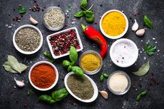 Set of Various spices and herbs on black stone table. Royalty Free Stock Image