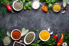 Set of Various spices and herbs on black stone table. Royalty Free Stock Photos
