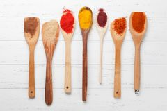 Set of various spices in spoons royalty free stock image